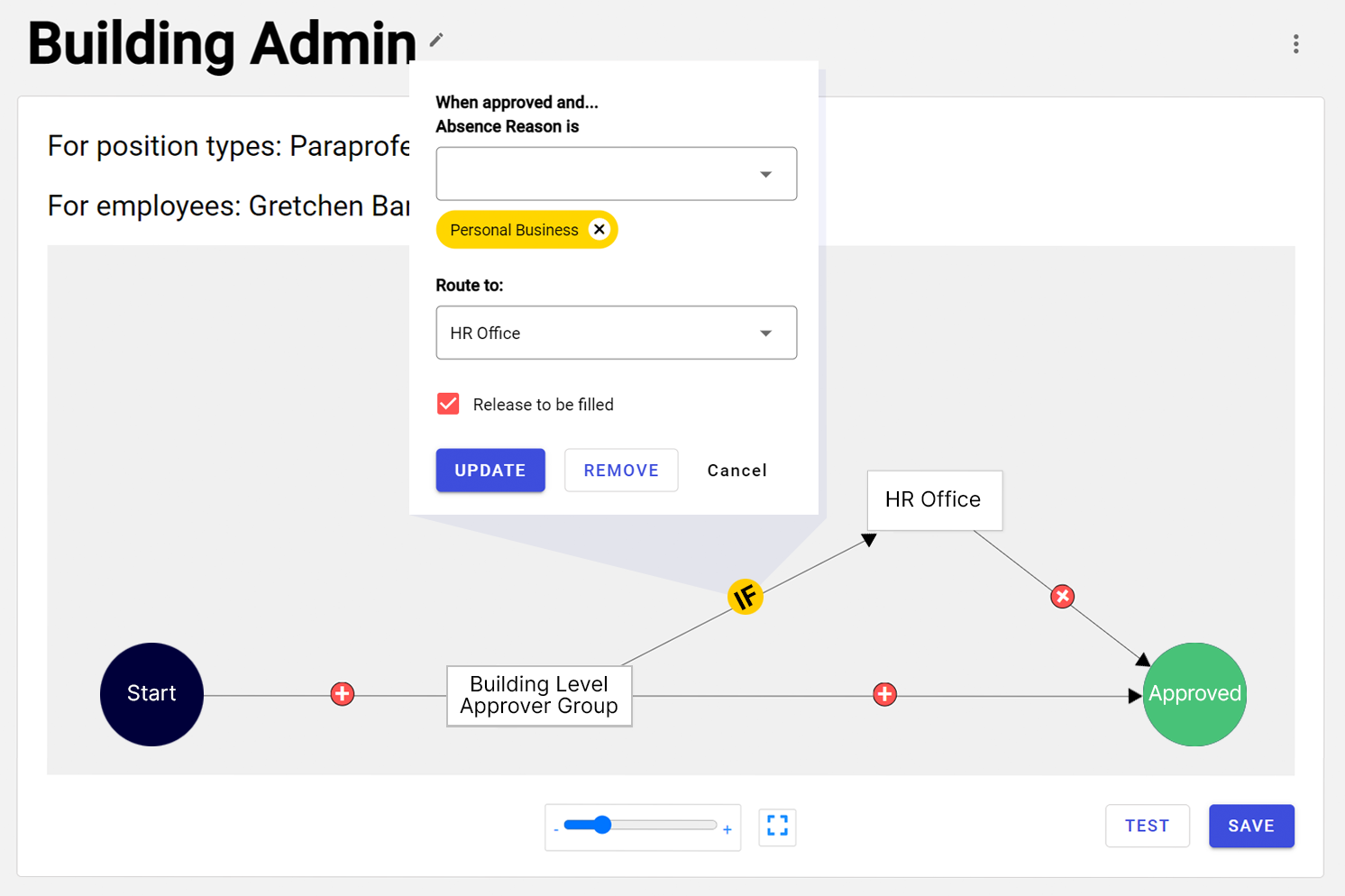 Red Rover's built-in drag-and-drop workflow configurator makes setting up approval routing a snap. If/then logic branching allows any number of employee-specific approval sequences.